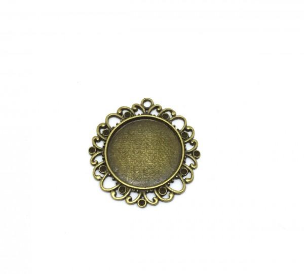 5 Fassungen 25 mm, Cabochon, antik bronze