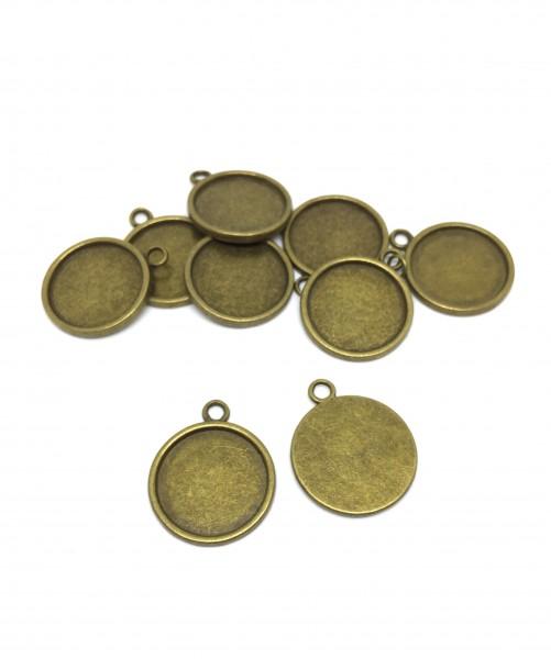 10 Fassungen 20 mm, Cabochon, antik bronze