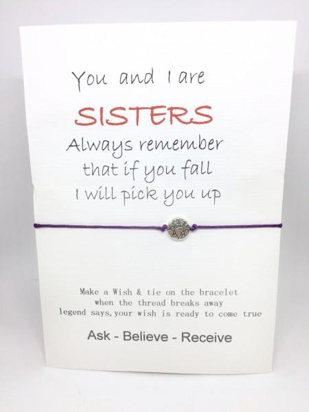 Geschenkkarte mit Armband Sister