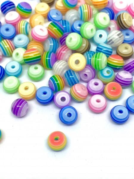 100 Perlen, gestreift, 6 mm