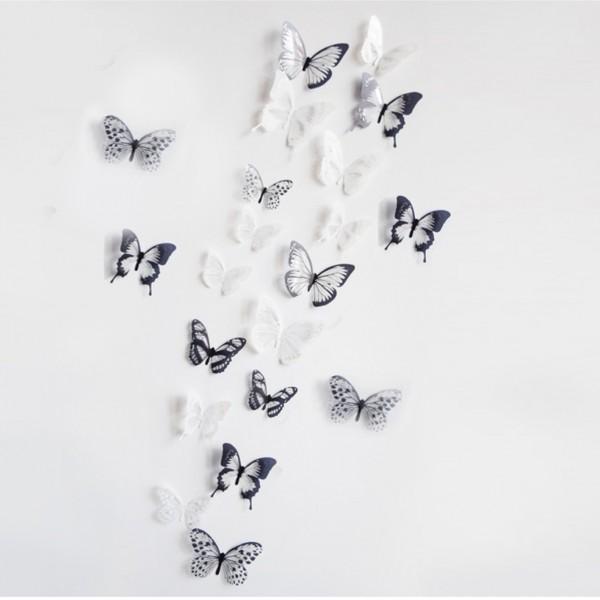 18 Schmetterlinge, 3D, schwarz/weiß